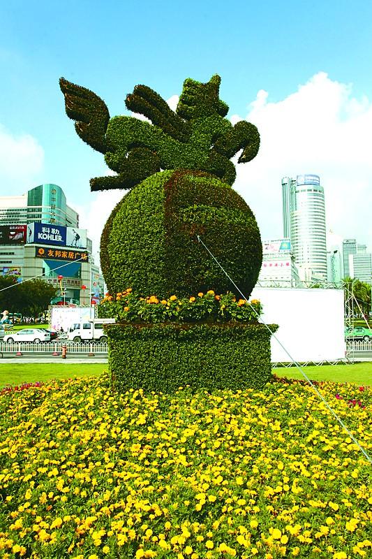 国内模纹花坛主要的材料红绿草以外,还引进了七八种立面植物,如佛甲草