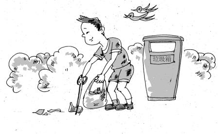 文明校园简笔画-搞好环境卫生,不乱倒垃圾