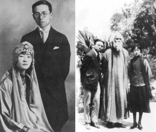 左:林徽因与梁思成的结婚照; 《梁思成·林徽因; 左:林徽因与