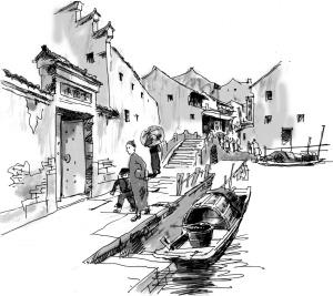 民国街道建筑手绘