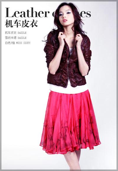 红色印花雪纺半裙