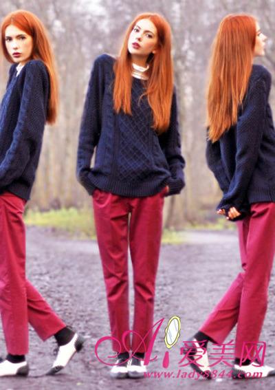 欧美 范儿/宽松的麻花编织毛衣搭配上耀眼的红裤子,打造出潮范儿十足的...
