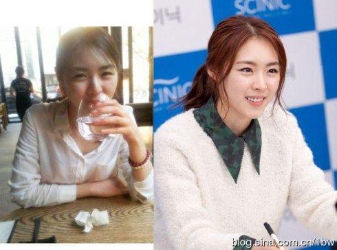 韩国女星化妆与素颜对比(图)