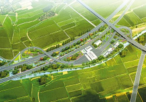 7亩,设计为双喇叭收费互通立交,设匝道收费站1座(6进11出)和11条匝道图片