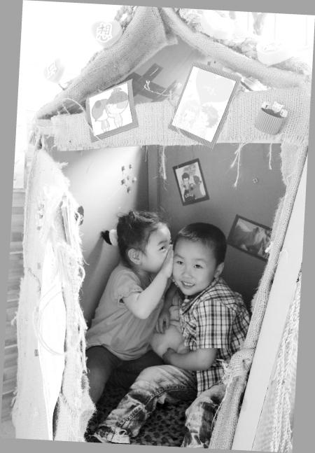 幼儿园自制纸箱玩具小屋