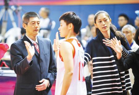 主教练马跃南(左)和助教隋菲菲按个与队员击掌. 记者 崔引 摄