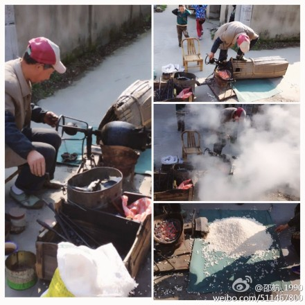"""网友晒传统爆米花""""冻米胖""""的制作过程"""