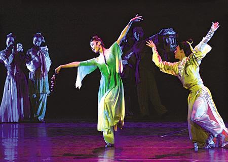 大型舞剧《桃花坞》昨在宁波大情趣上演-剧院四写的十时仿防桃花图片
