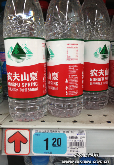 部分瓶装矿泉水容量不同但价格相当的情况