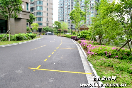 图为晶桂苑小区路面一边新划的停车位.(记者 刘盈蓉 摄)
