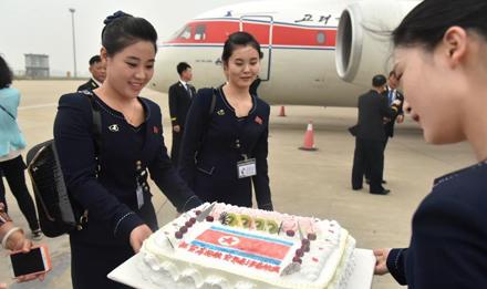 高丽航空开通济南航线 朝鲜空姐亮相