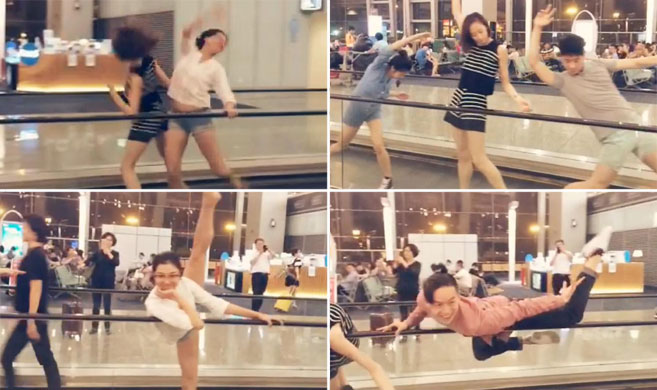 飞机晚点 北京一芭蕾舞团候机厅里表演即兴舞蹈