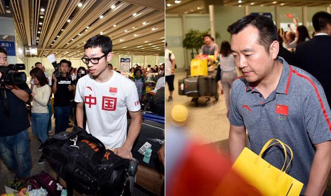 中国乒乓球奥运军团抵京 遭遇球迷和媒体包围