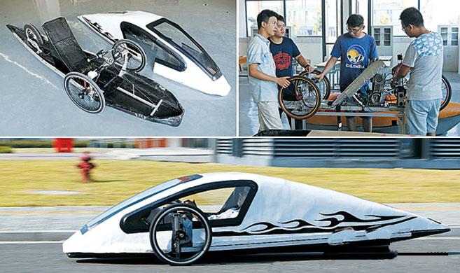 宁波11个大学生制造节能电动车 1度电能跑140公里