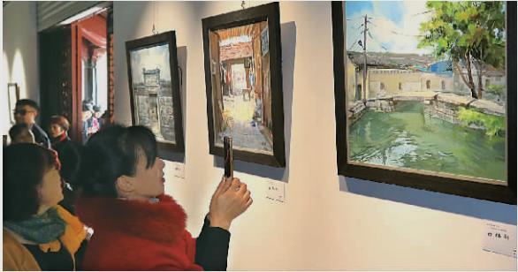 马径村古建筑手绘作品亮相天一阁