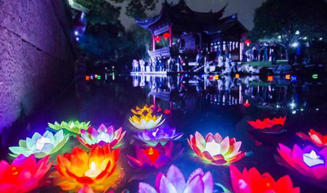 纪念南宋宁波先贤史浩 月湖花果园庙放河灯