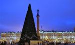 圣彼得堡冬宫前竖起新年枞树