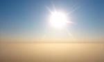 500米高空航拍雾霾与蓝天分界线
