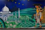 西安地铁站壁画引争议:玄奘与千年后的泰姬陵同框