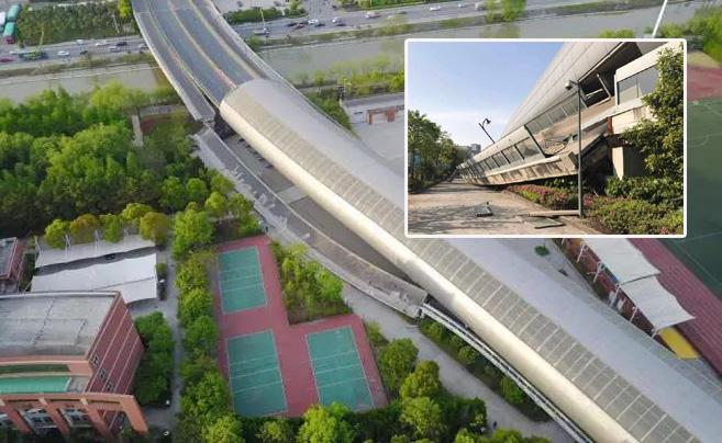 杭州萧山一立交桥断裂 现场1人受伤