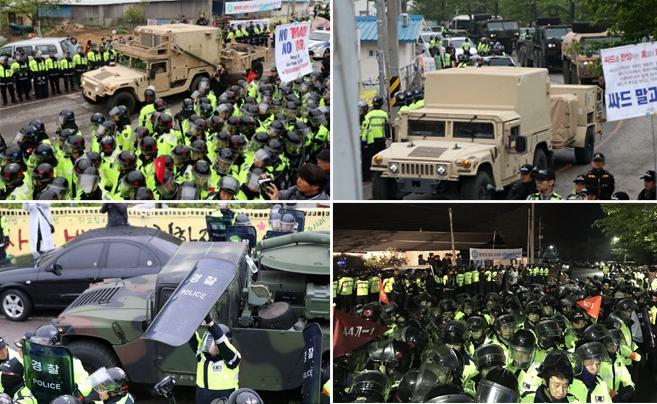 """韩国开始全面部署""""萨德"""" 爆发警民冲突"""