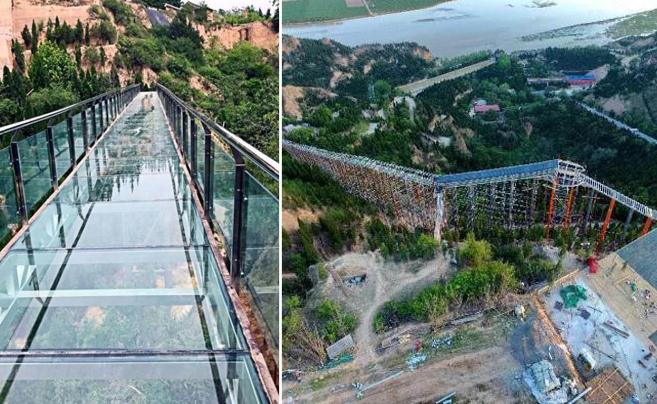 山西首条420平方纯玻璃滑道试运营