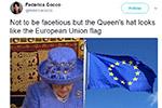 英女王演讲帽子引网民关注 蓝底黄星似欧盟旗帜