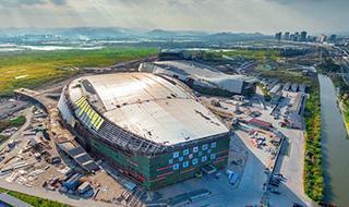 宁波奥体中心金属屋面施工已基本完成