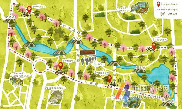 宁波公共自行车公司发布2018年手绘骑行地图 快收藏