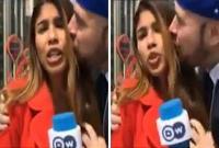 哥伦比亚女记者世界杯报道现场遭人袭胸夺吻