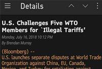美国在WTO一口气对五个国家和地区发难