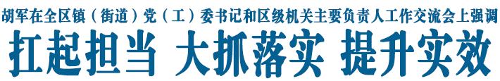 胡军在全区镇(街道)党(工)委书记和区级机关主要负责人工作交流会上强调 扛起担当 大抓落实 提升实效