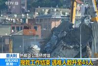 意大利热那亚公路桥垮塌搜救工作结束 遇难人数升至43人