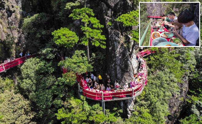 浙江龙泉山悬崖餐厅开放