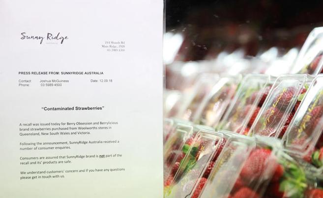 澳大利亚草莓藏针事件持续发酵