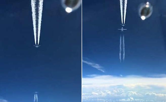 """罕见同框!一飞机反方向从两架飞机间""""擦肩""""穿过"""