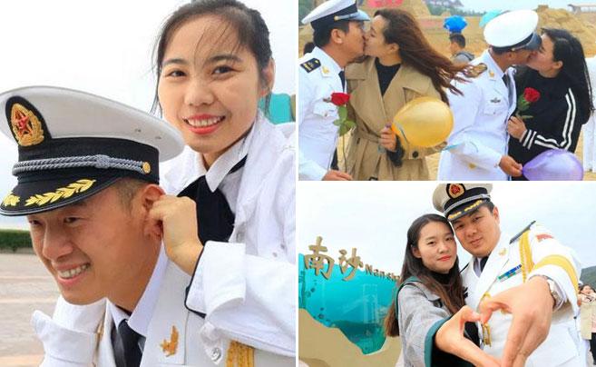 东海舰队官兵举行集体婚礼:大海作证 军舰为媒
