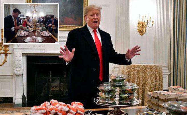 白宫厨师被解雇 特朗普自掏腰包请运动员吃快餐