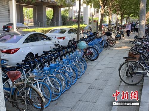北京某郊区地铁口的共享单车。<a target='_blank'  data-cke-saved-href='http://www.chinanews.com/' href='http://www.chinanews.com/' >中新网</a> 吴涛 摄