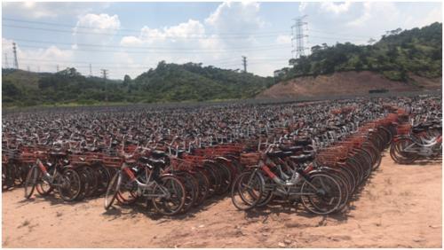 摩拜在广州回收的车辆。供图