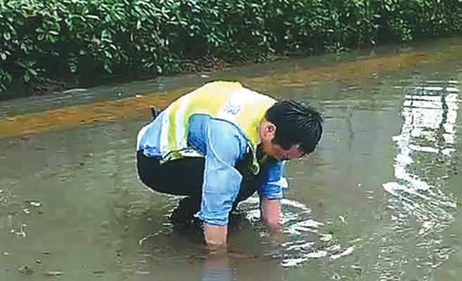 交警徒手清理排水口杂物走红网络