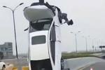 女子将车垂直开上标志杆 警方:未发现酒驾毒驾嫌疑