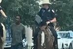 """美国得州骑警""""绳牵""""非裔嫌疑人引众怒 数百人抗议集会"""