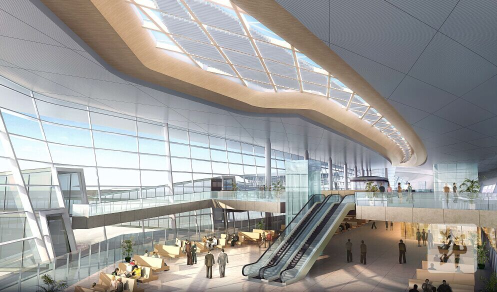 图为宁波机场T2航站楼效果图。