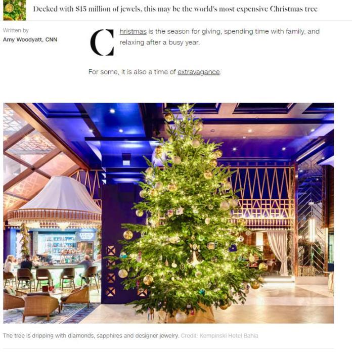 全球最贵圣诞树?价值1190万英镑 钻石、蓝宝石装饰