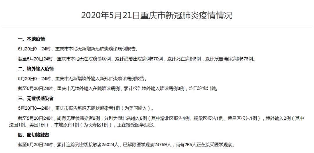 重庆昨日新增无症状感染者1例 为美国输入