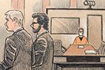 """""""跪膝杀人""""前警察首出庭:戴手铐口罩 全程几乎沉默"""