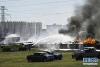 美国得克萨斯州一存放塑料制品设施发生火灾