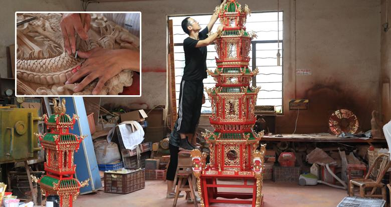 """宁海这位匠人做的""""鼓亭""""将亮相!金箔用了六七千张…"""
