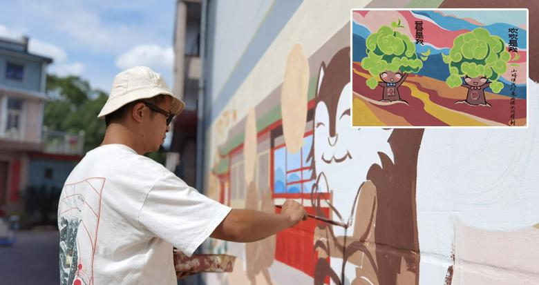 墙绘扮靓美丽乡村 京城艺术家宁海山村绘乡愁